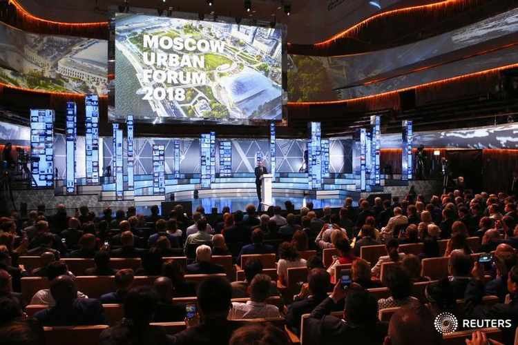Russia's President Putin attends Moscow Urban Forum 2018 in Moscow
