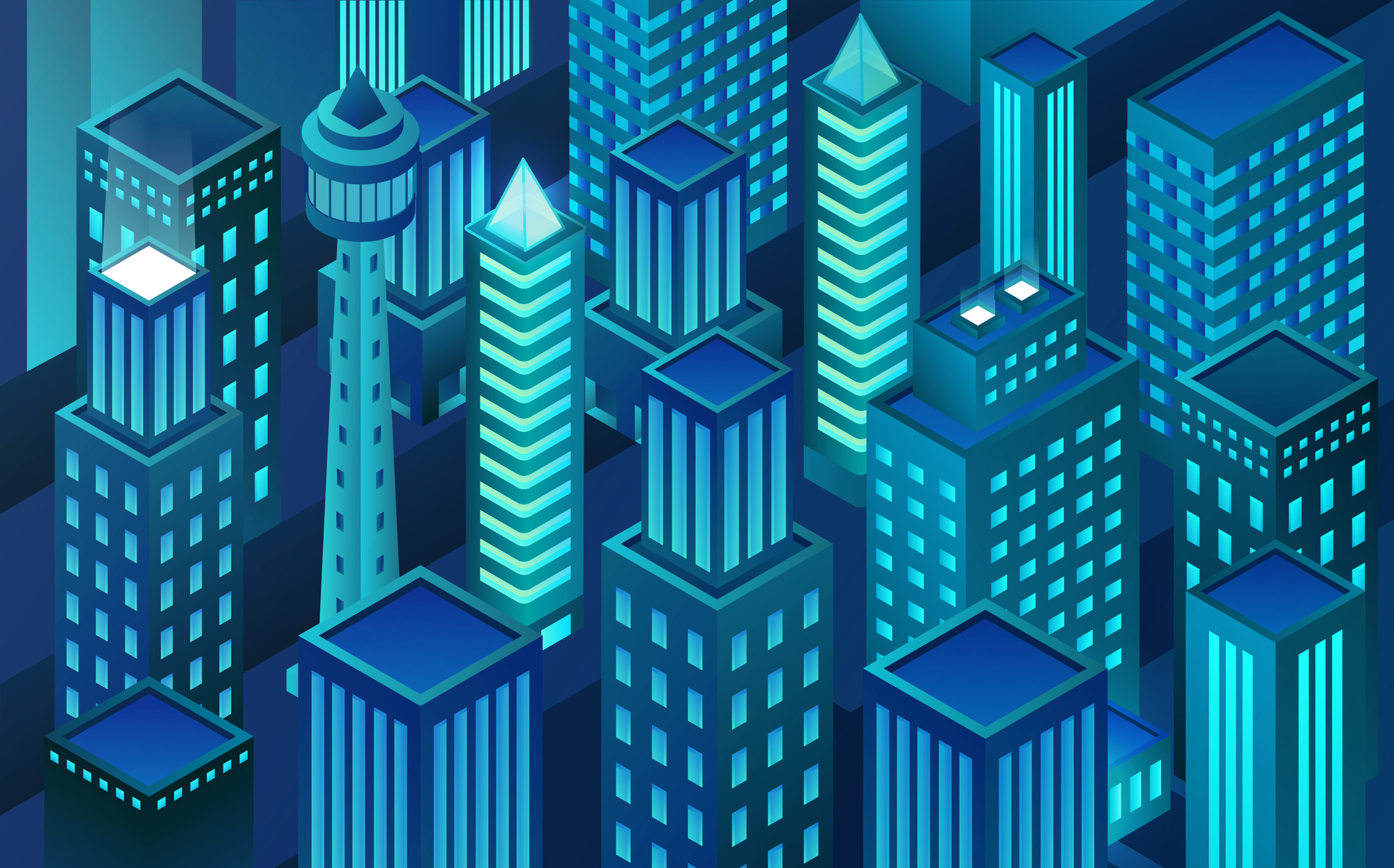 Vector isometric virtual reality city. Block chain city. Skyscrapers in night.